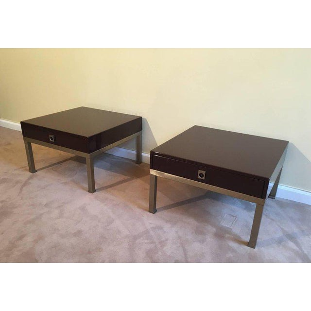 1970s French Pair of Side Tables by Guy Lefèvre for Maison Jansen - Image 4 of 11