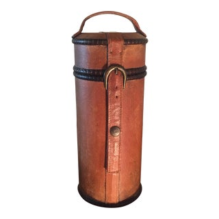Vintage Late 20th Century Leather One Bottle Wine Caddy For Sale
