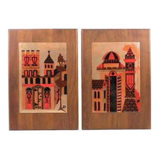 Judith Daner Midcentury Enamel on Copper Artwork Wall Panel Cityscape, a Pair For Sale
