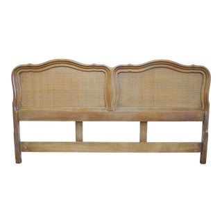 19th Century Traditional Queen Wooden Headboard With Rattan For Sale
