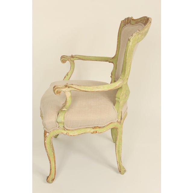 Louis XV Late 19th Century Antique Louis XV Style Painted Armchairs- A Pair For Sale - Image 3 of 13