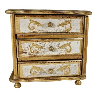 Vintage Gold Gilt Florentine 3 Drawer Footed Wood Chest Jewelry Box Italy For Sale