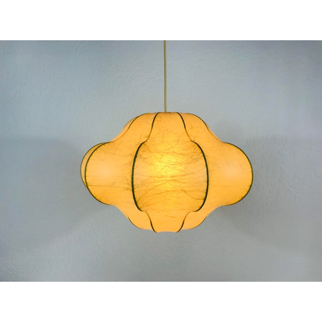 Light Green 1960s Mid-Century Modern Flower Shape Cocoon Pendant Lamp, Italy For Sale - Image 8 of 12