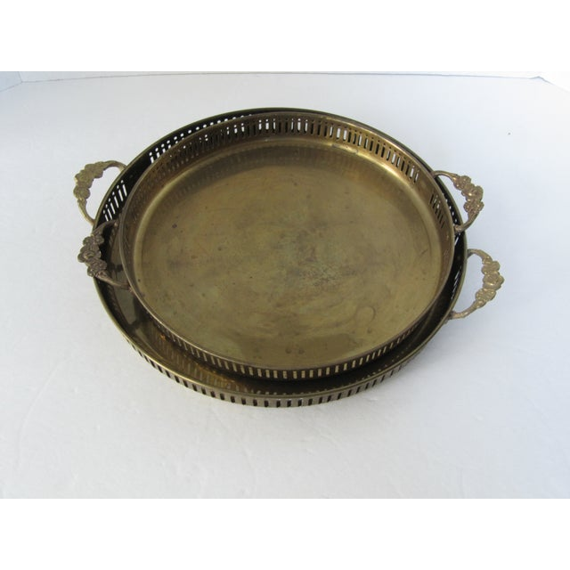 Vintage Round Brass Trays - A Pair - Image 7 of 7