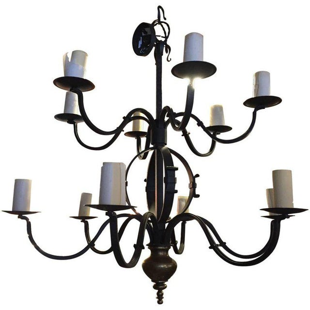 Iron Tommy Hilfiger Wrought Iron Chandelier For Sale - Image 7 of 7