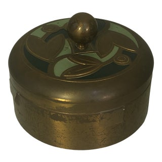 Art Deco Brass Covered Round Box For Sale
