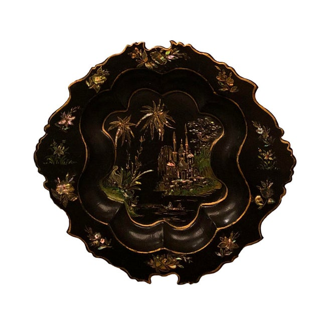 Paper Antique English Paper Mache With Mother of Pearl Plate For Sale - Image 7 of 7