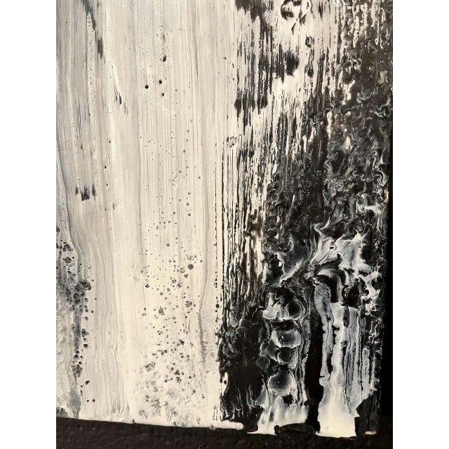 "Black Lynn Basa Encaustic Black and White Stripe Panel ""Three Ways of Looking Black"" For Sale - Image 8 of 13"