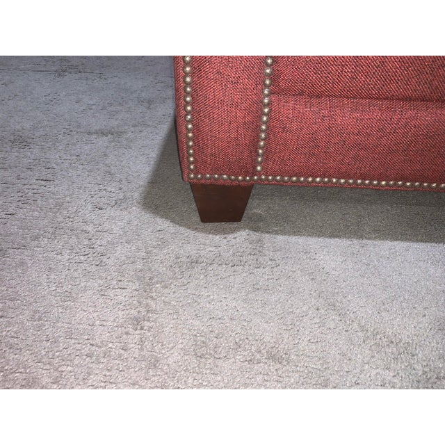 2000 - 2009 Bassett Furniture Crimson Sofa With Nail-Heads For Sale - Image 5 of 8