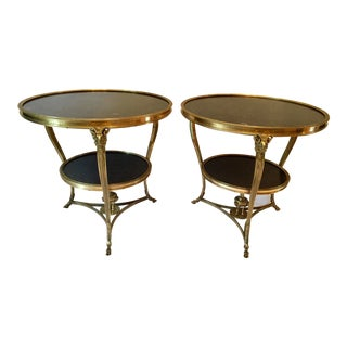 Louis XVI Style Gilt Marble Gueridon Tables - a Pair