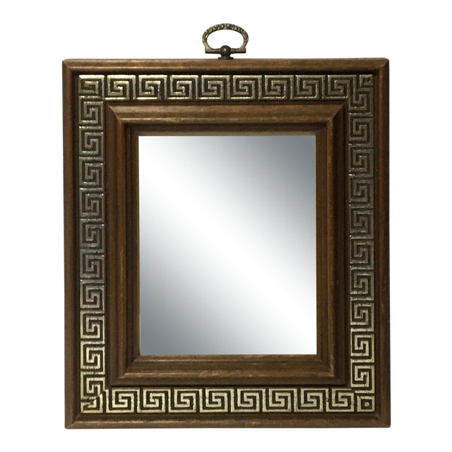 Vintage Brass Ring Wood Picture Frame with Greek Key Border For Sale