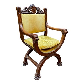 Victorian Carved Oak Savonarola Chair For Sale