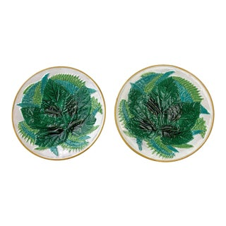 George Jones Majolica Leaf and Ferns Plates White Ground, English, Ca. 1875 - a Pair For Sale