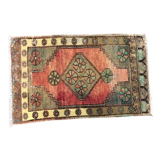 Vintage Distressed Turkish Anatolian Red Rug For Sale