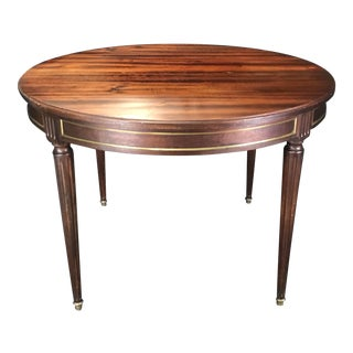 French Louis XVI Style Mahogany Round Expandable Table With Gold Bronze For Sale