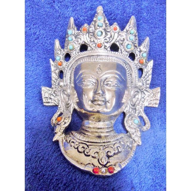 Tibetan Goddess Silver Mask Wall Hanging - Image 2 of 7