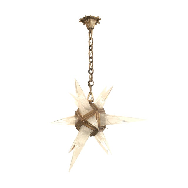 Metal 1930s American Art Deco Star Form Chandelier For Sale - Image 7 of 7