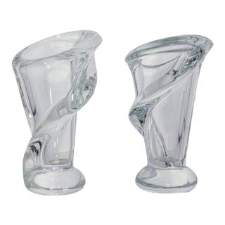 Beautiful Pair of Small French Crystal Vases For Sale