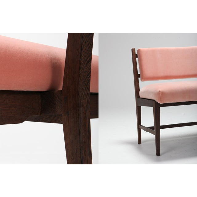 Textile Midcentury Scandinavian Modern Bench in Pink Velvet and Wenge For Sale - Image 7 of 9