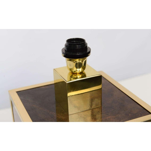 Aldo Tura Goatskin and Brass Table Lamp For Sale - Image 10 of 10