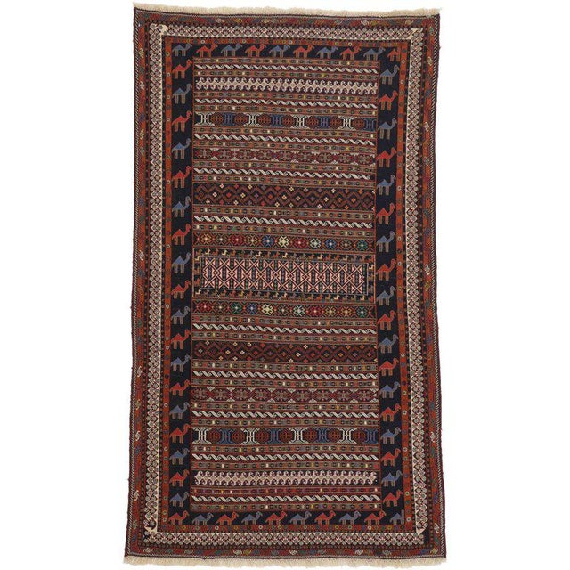 1970s Vintage Soumak Persian Rug With Tribal Style - 3'9 X 6'10 For Sale - Image 5 of 5