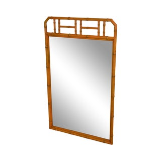 Henredon Vintage Faux Bamboo Painted Wall Mirror For Sale