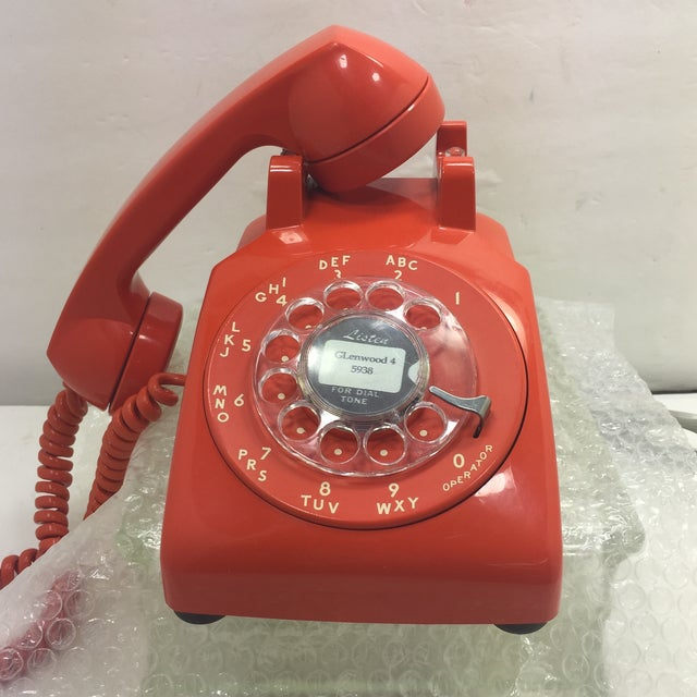 Vintage Stromberg Carlson Orange Rotary Dial Phone - Image 10 of 11