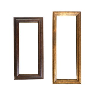 Vintage Wooden Rectangular Mirrors, Set of 2