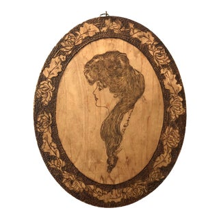 Early 20th Century Arts & Crafts Pyrography Wood Art For Sale