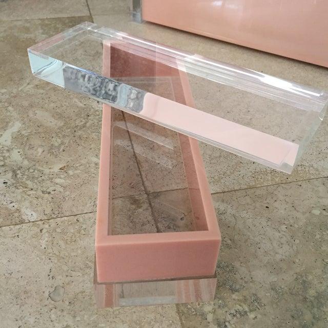 Transparent 1970s George Bullio Signed Tan Lucite Organizing Accessories, MCM - 4 Pieces For Sale - Image 8 of 12