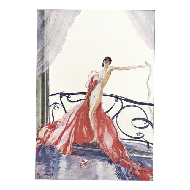 Matted French Art Deco Seductive Nude Print For Sale