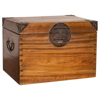 Antique Chinese Wooden Treasure Chest For Sale