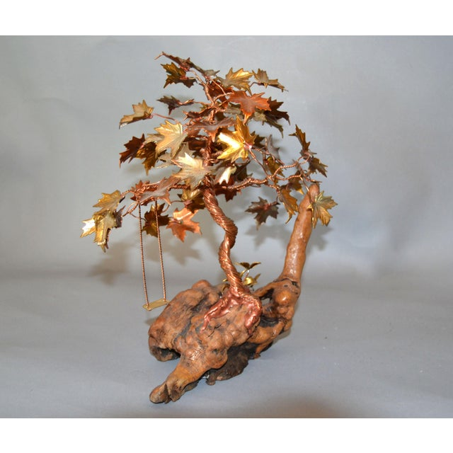 Contemporary Handcrafted Bonsai Tree Brass, Copper, Bronze Sculpture on Burl Wood Base For Sale - Image 3 of 13