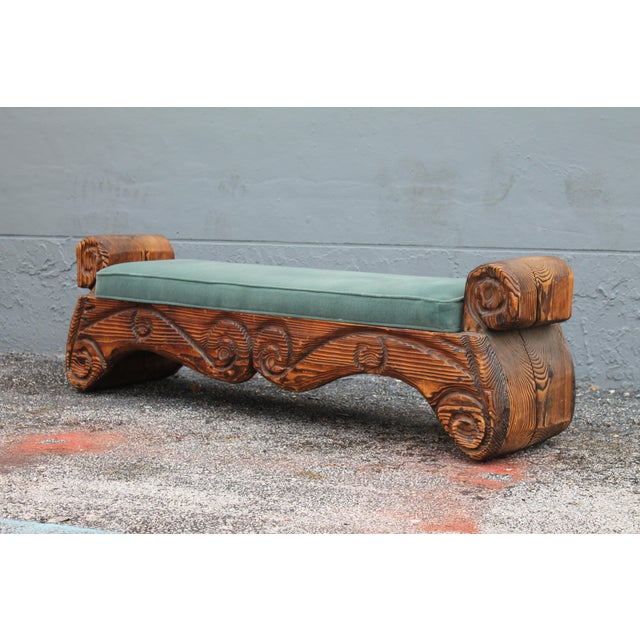 1940's Mid-Century Carved Wood Sitting Bench - Image 10 of 11