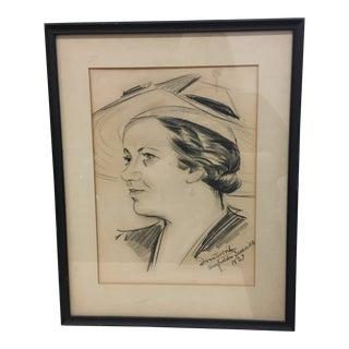Drawing - Vintage 1937 Framed Sketched Portrait For Sale