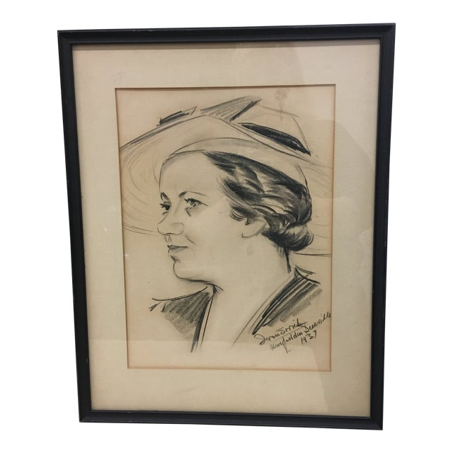 Drawing - Vintage 1937 Framed Sketched Portrait For Sale