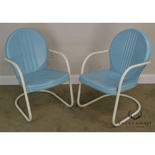 Art Deco Style 1940's Vintage Pair Metal Patio Lawn Chairs Preview