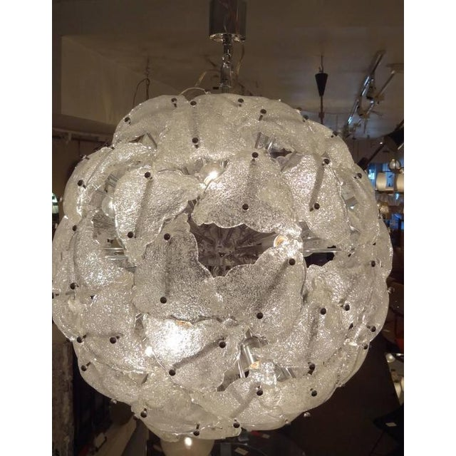 Chrome Mazzega Very Large-Scale Mid-Century Glass Sputnik Chandelier Italy circa 1960 For Sale - Image 7 of 10
