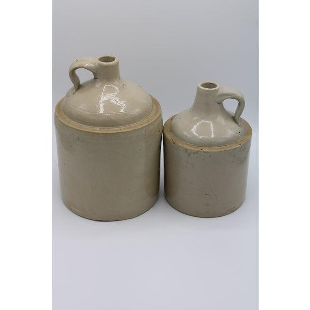 Farmhouse Antique Stoneware Farmhouse Crock Jugs - a Pair For Sale - Image 3 of 10
