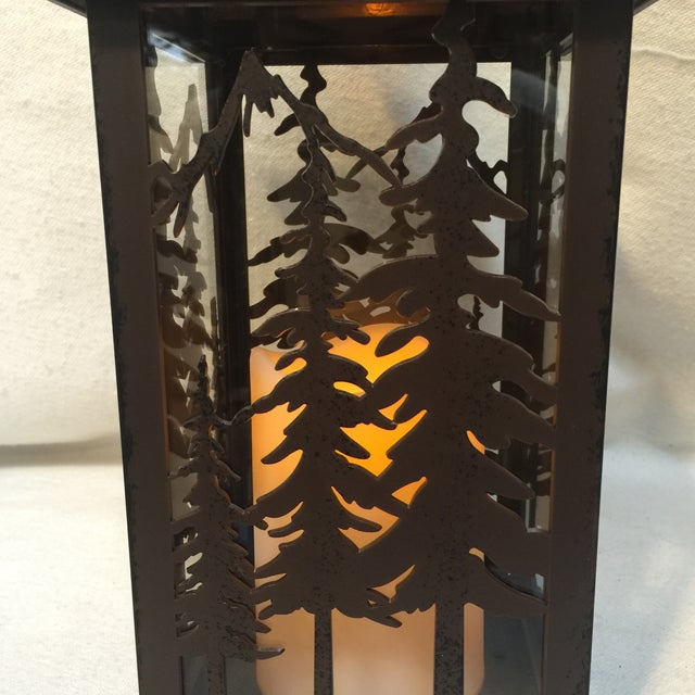 Metal & Glass Forest Silhouette Lanterns - A Pair - Image 10 of 10