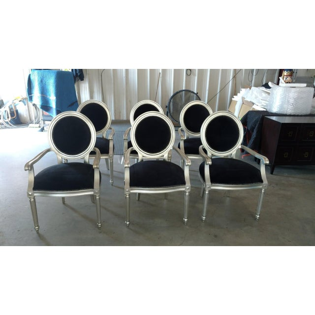 The School of Paris Bernhardt Louis Silverleaf Finish Arm Chairs - Set of 6 For Sale - Image 3 of 3