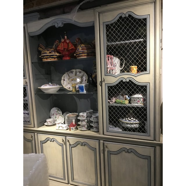 French Provincial 1980s French Curio China Display Cupboard Armoire For Sale - Image 3 of 12