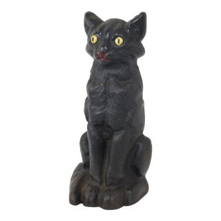 Vintage Cast Iron Sitting Cat Doorstop For Sale