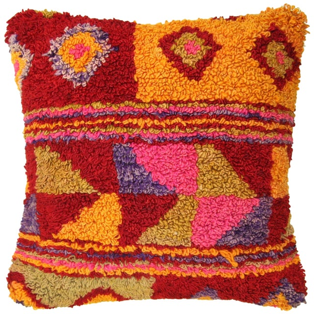 "Colorful Vintage Turkish Tulu Pillow | 20"" - Image 1 of 2"