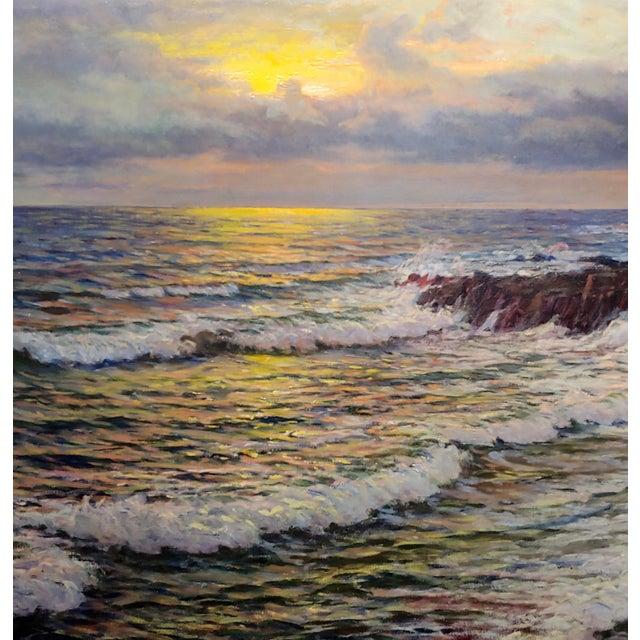"1920s Vartan Mahokian ""Seascape Magic Sunset"" Oil Painting C.1920s For Sale - Image 5 of 11"