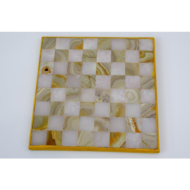 Boho Chic Vintage Aztec Blue and White Onyx Marble Chess Set For Sale - Image 3 of 12