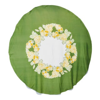 Vintage Vera Neumann Tablecloth Round Green Yellow Floral For Sale