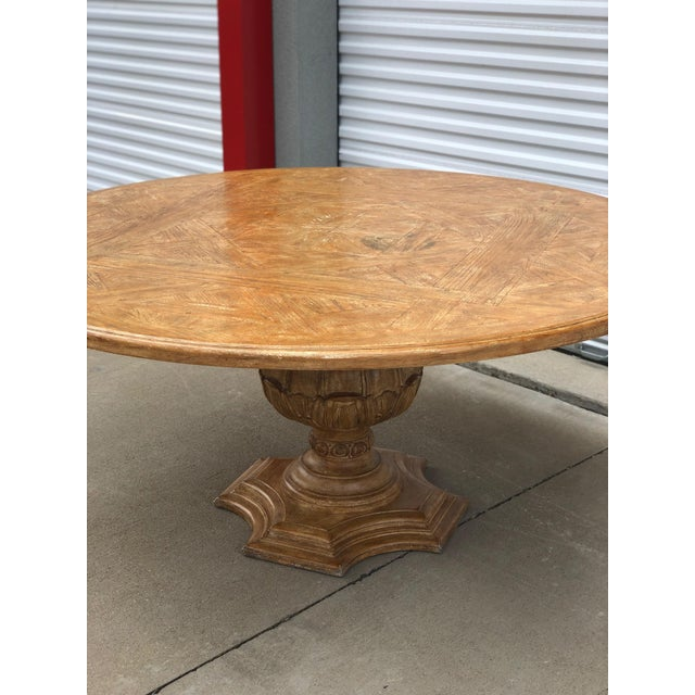 Wood 1950s French Country Dining Table With Decorative Base For Sale - Image 7 of 8