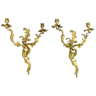 Fine Pair of Louis XVI Style Ormolu Wall Lights, Not Electrified For Sale