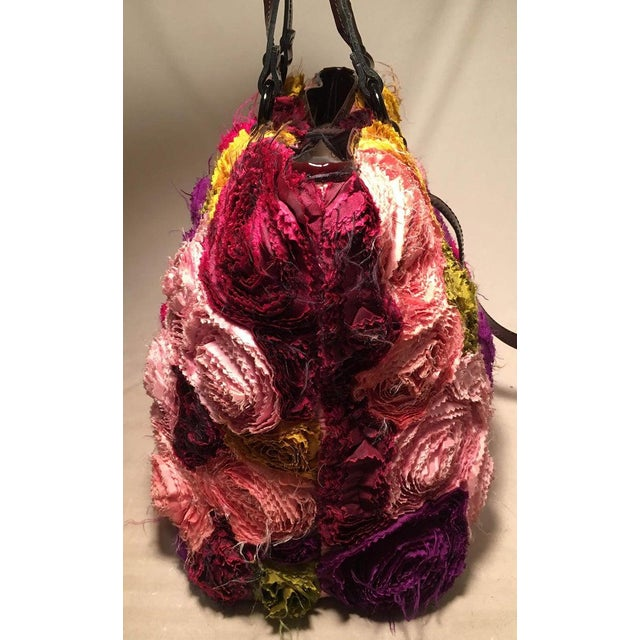 Boho Chic Valentino Multicolor Silk Rosier Rosettes Tote Bag For Sale - Image 3 of 10